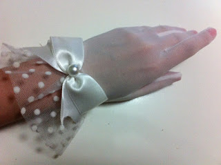 kırık beyaz tül eldiven nikah eldiveni gelin eldiveni