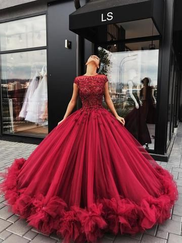 Red-tulle-Wedding-Ball-Gown-Prom-Dress