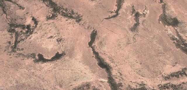 Геоглифы расположены на значительном отдалении от населённых пунктов. Структура геоглифов довольно проста, они сделаны из небольших насыпей до 50 см в высоту и метра в ширину, большинство в виде спиралей, которые сужаются к центру. Главным образом подчёркнута взаимосвязь геоглифов между собой. Когда линия прочерчивающего геоглифа закручивается в центре пиктограммы, то линия не обрывается, линия плавно поворачивает в сторону, выходя за пределы пиктограммы и затем линия закручивается в новый символ. Если учесть особенности климата и ландшафта, так же видно, что спутниковые снимки с 2005 по 2016 год показывают рисунок без изменений. Можно прийти к выводу, что рисунки не сохранились бы более ста лет. В регионе саваны есть постоянная растительность в виде кустарников, которыми обрастают геоглифы, корни растений постепенно разрушали бы рисунки. В регионе ежегодно происходят муссоны, которые влияют на почву. Можно с уверенностью сказать, что геоглифы, не очень древние или возможно появились в 20м веке. Более точно рассказать историю геоглифов, могут лишь полевые исследования. Мало вероятно, создание таких невероятно сложных геоглифов людьми, геоглифы на Плато Наска едва схожи с геоглифами Намибии.