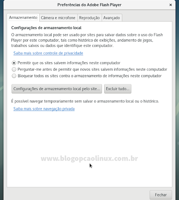 Painel de Preferências do Adobe Flash Player