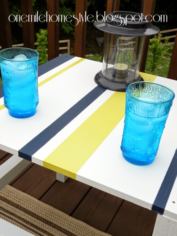 Navy, White and Citron Outdoor Table - Scrap Wood