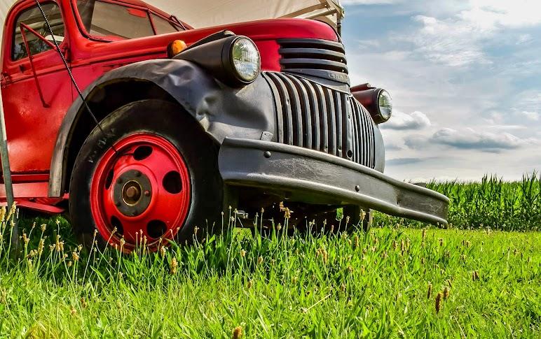Classic Car On Field