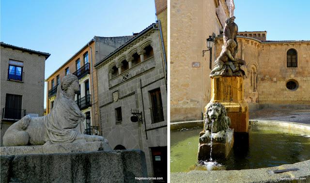 Fontes no Centro Histórico de Segóvia, Espanha