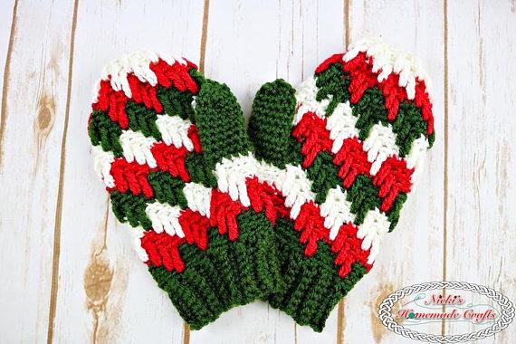 winter christmas mittens gloves crochet pattern