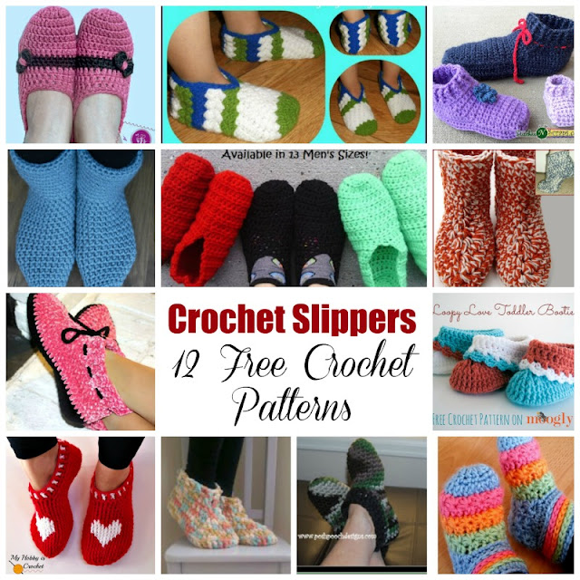 Crochet Slippers – 12 Free Crochet Patterns