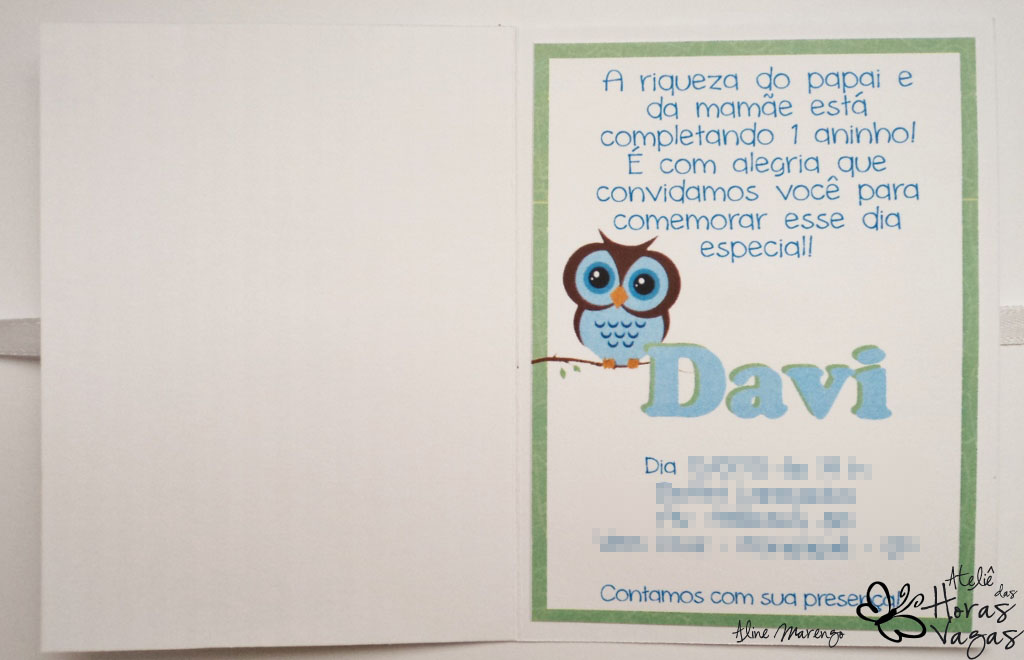 convite artesanal aniversário infantil coruja corujinha menino 1 aninho azul verde bebê