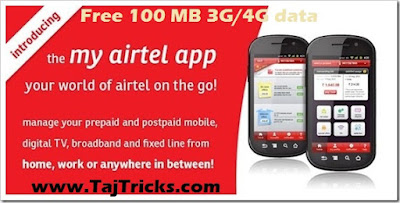 Get Free 100 MB 3G/4G data On My airtel Airtel App For Free by linking Paytm Wallet