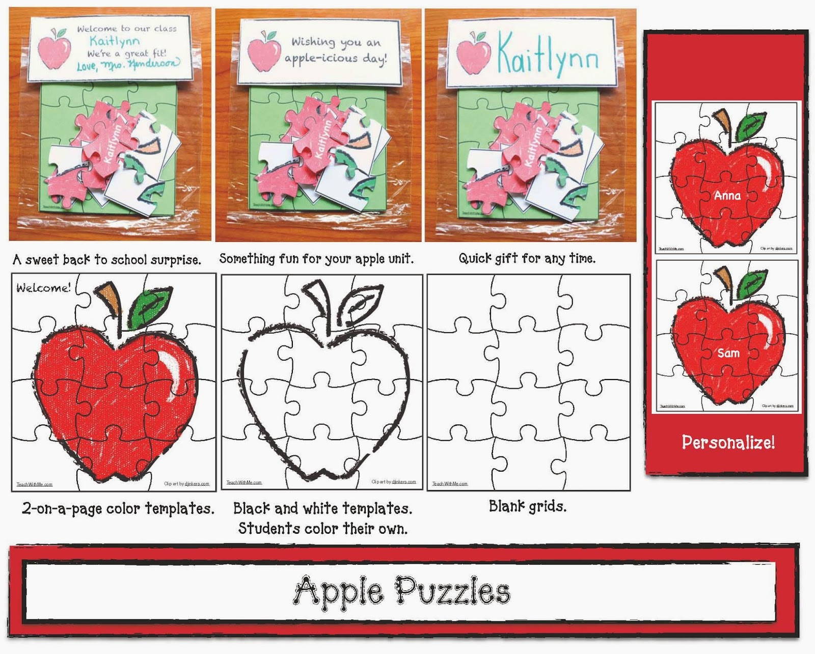 Classroom Freebies Apple Puzzles