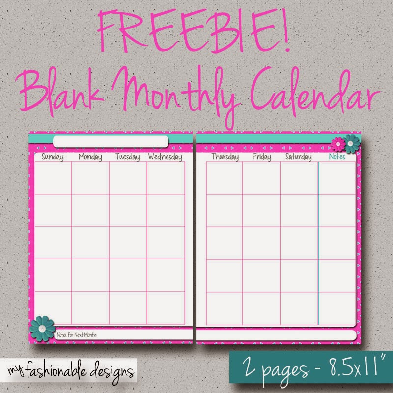 My fashionable designs free printable 2 page monthly for Double month calendar template