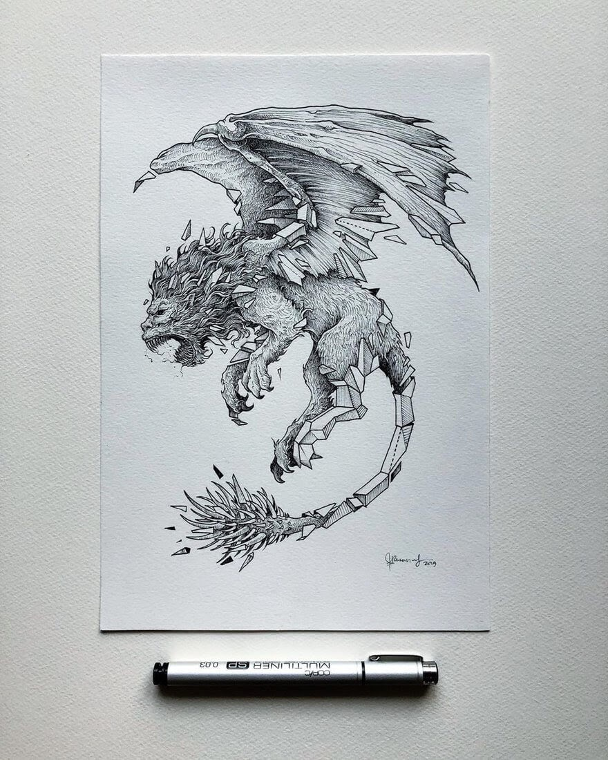 02-Manticore-Kerby-Rosanes-Detailed-Fantasy-Ink-Drawings-www-designstack-co