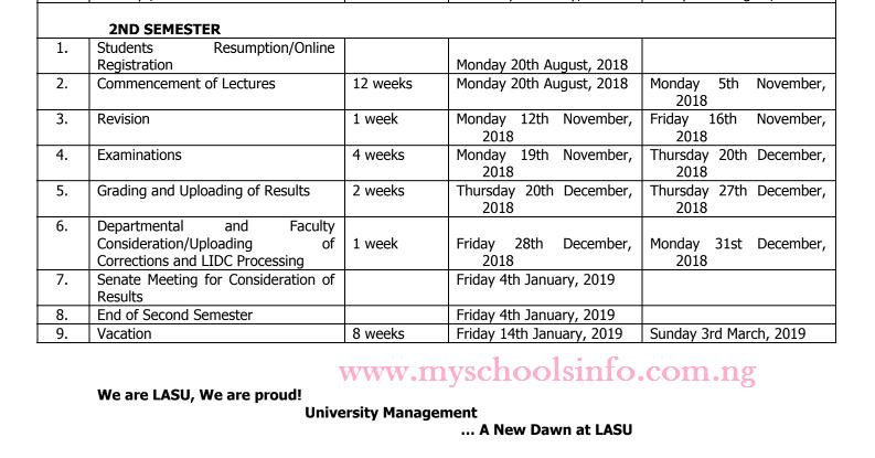 Lasu Academic Calendar