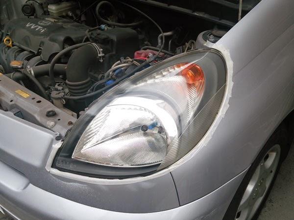 リョービ RSE-1250 サンダポリシャ で磨いたヘッドライトレンズ。光軸を撮らなくてもそのまま検査ラインOKでした。