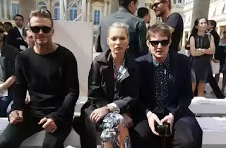 Kate moss and David Beckham arrive Louis Vuitton men's wear fashion show Paris