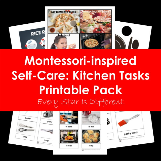 Montessori-inspired Self-Care: Kitchen Tasks Printable Pack