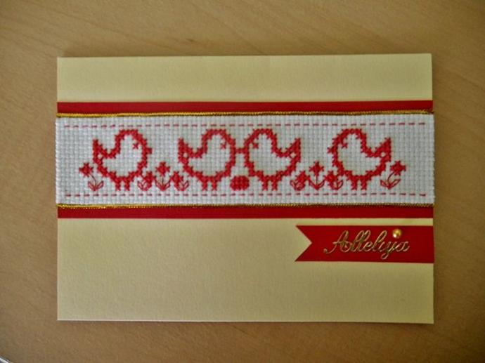 kartka wielkanocna z kurczakami haft krzyżykowy