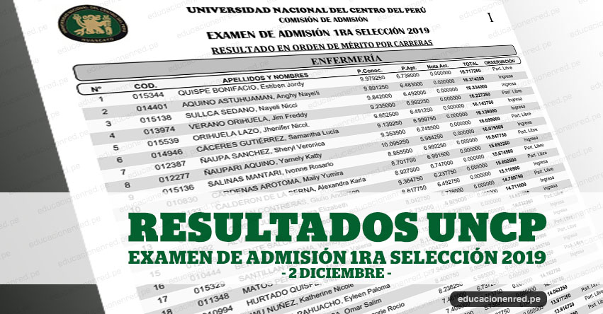 UNCP publicó Resultados Examen Primera Selección 2019 (2 Diciembre) Lista Aprobados 5° Grado Secundaria - Universidad Nacional del Centro del Perú - www.uncp.edu.pe