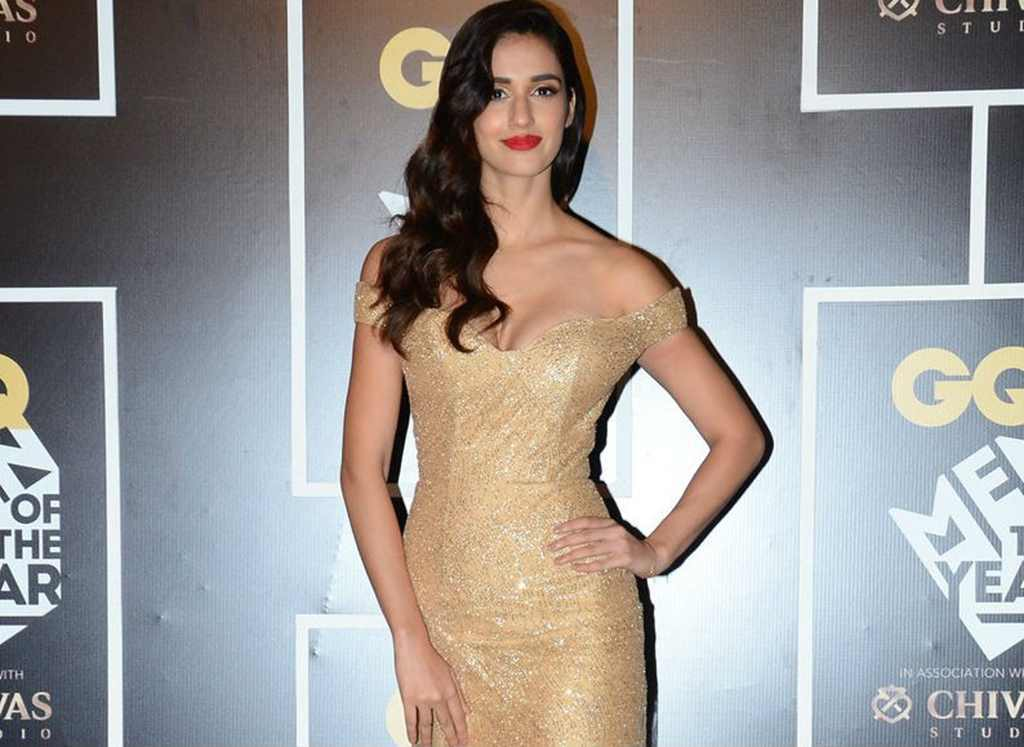 Disha Patani in Golden Deep neck Off Shoulder Gown at GQ Awards Spicy Pics