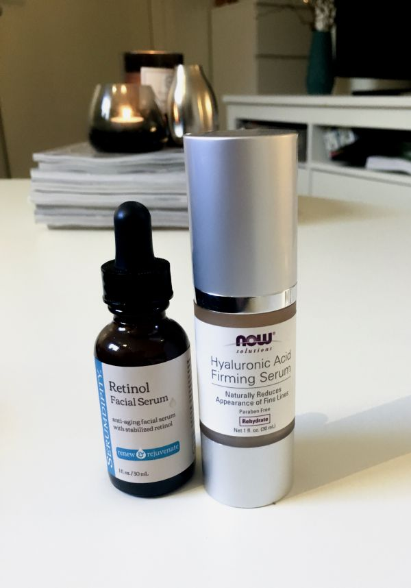 Retinol and Hyraluronic Acid serums for anti aging