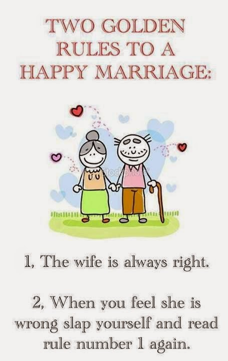 Funny Happy Marriage Golden Rule Joke Picture
