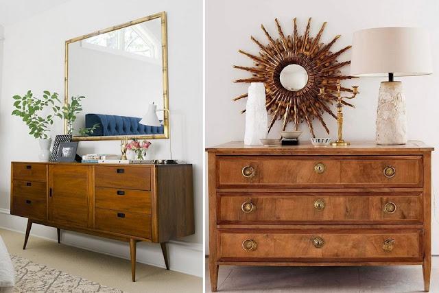 buffet ou aparador composição com quadros e espelhos - Emily Henderson / Etxekodeco
