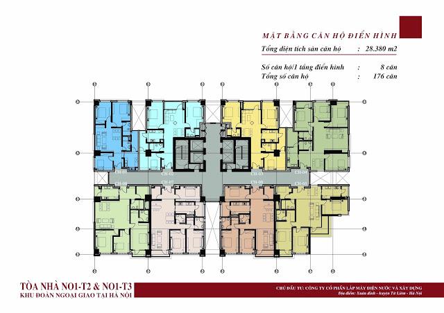 Sơ đồ tầng điển hình chung cư Ngoại Giao Đoàn NO1-T3