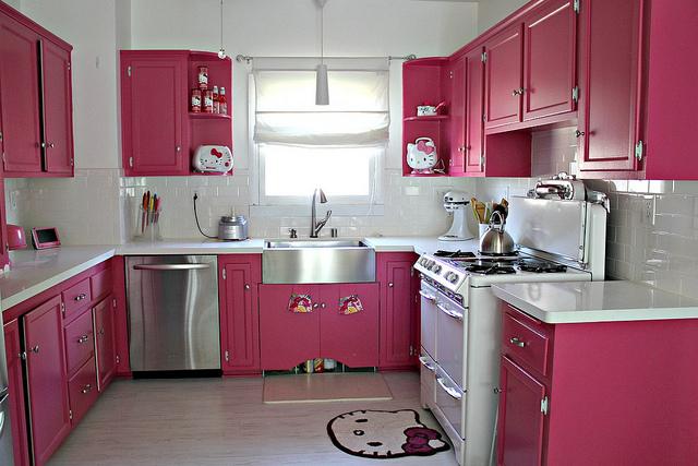 dekorasi dapur warna pink