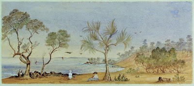 Louisa Forbes, 1871 watercolour of the small seaside resort of Sandgate