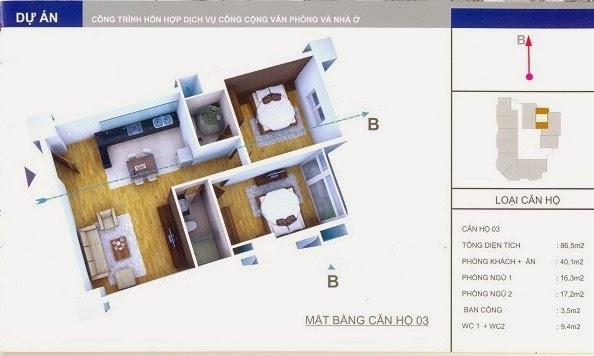 thiết kế mẫu căn số 3 chung cư 34 Cầu Diễn