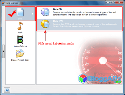 Pilih Burning Data CD atau DVD