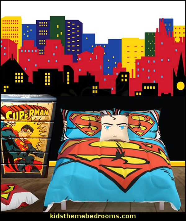 superman bedroom decor   superman bedroom decorating ideas - superman decor - superman wall murals - superman bedding - Superheroes bedroom ideas - batman - spiderman - superman phone booth bedroom ideas - Superman bedroom decor - superman canvas art