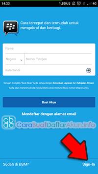 cara masuk bbm dengan nor hp atau email
