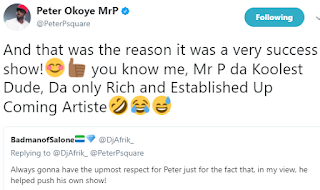 Peter Okoye refers to himself as an Established upcoming artiste