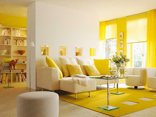 Modelo de sala con amarillo y blanco