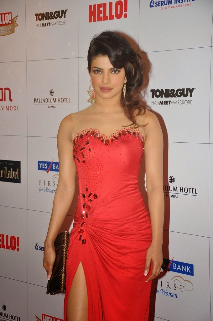 Priyanka Chopra looking Sexy in Red Dress at Hello! Hall of Fame Awards
