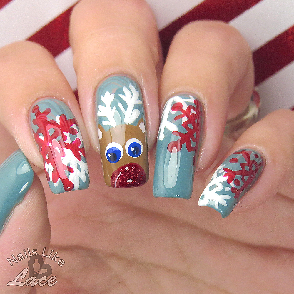 The Digital Dozen Does My Home Rudolph Christmas Nail Art