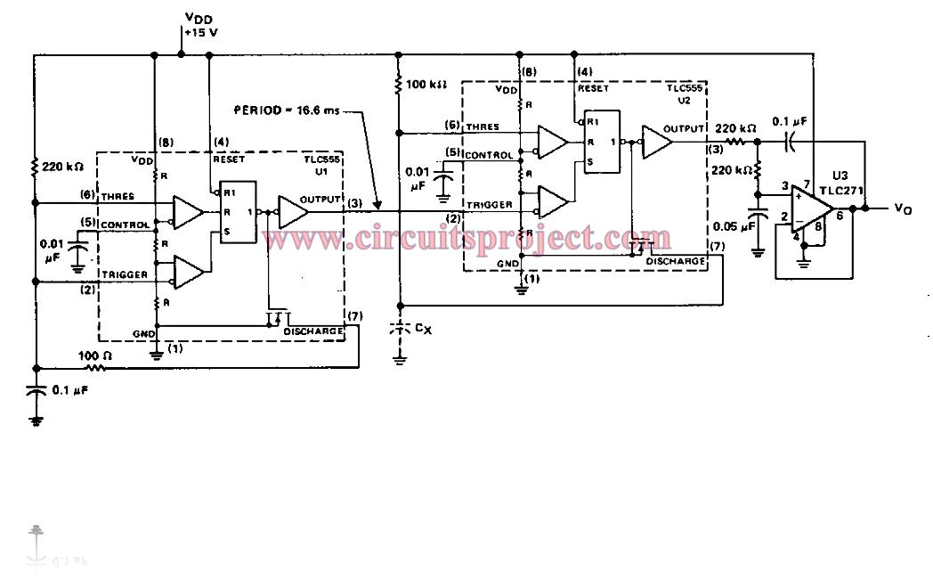 Capacitance to Voltage Meter Circuit Diagram
