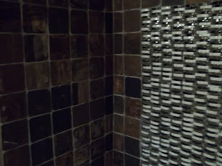 6x6 slate and glass tile shower