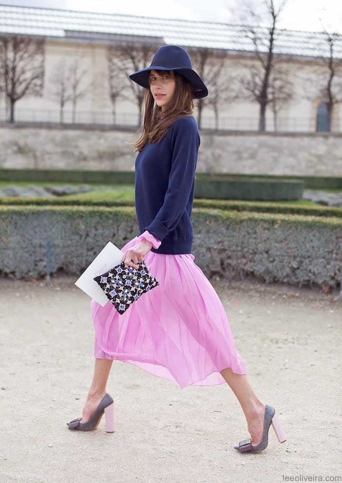 Caroline Sieber street style pink skirt blue sweater