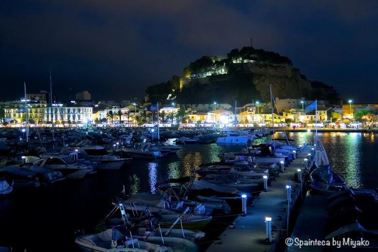 Dénia Spain デニアのヨットハーバーとマリーナの夜景