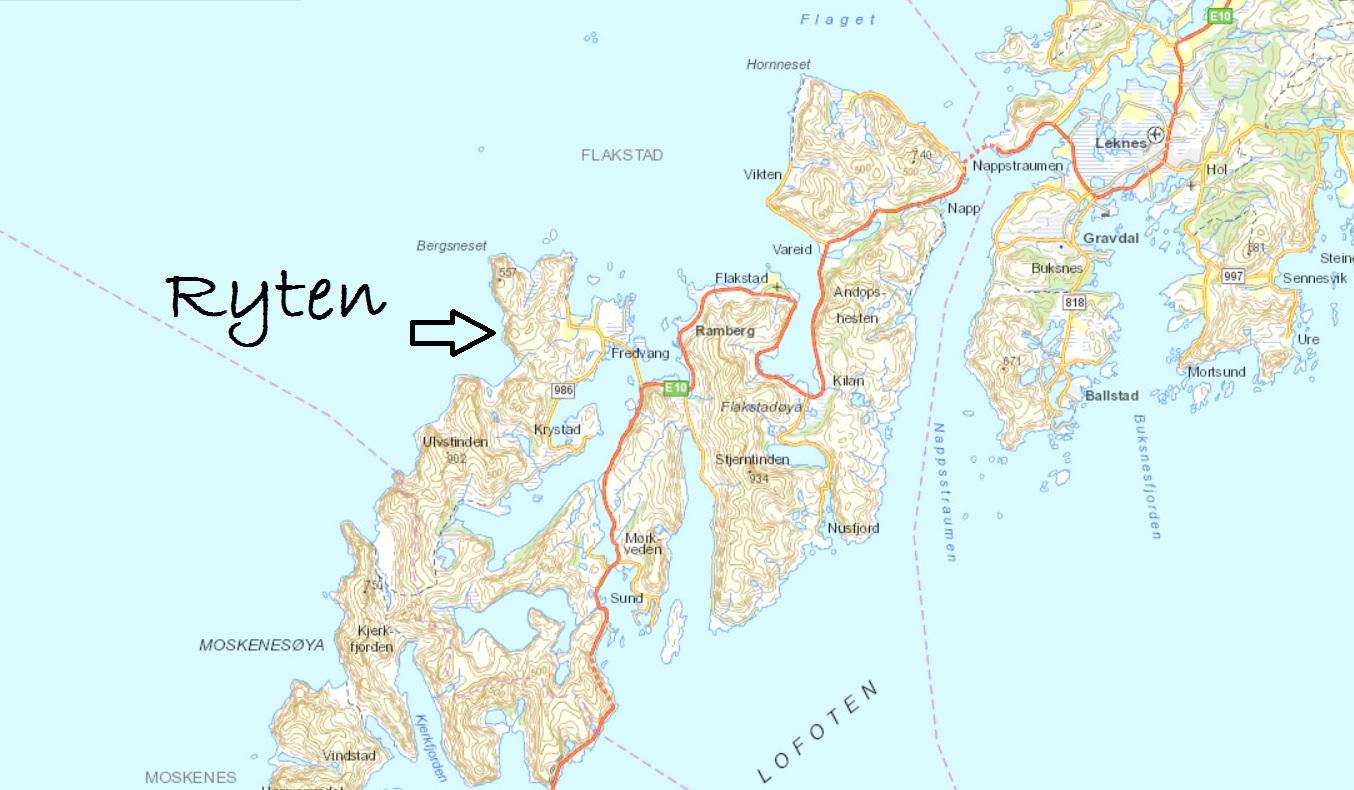 kvalvika lofoten kart Lene sin!: Trugetur til Ryten (543 moh) kvalvika lofoten kart