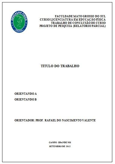 1ec797abf8 Educação Física FACSUL: MODELO DE CAPA DE TRABALHO DE CONCLUSÃO DE CURSO