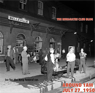 Secret stop at Belleville Station for ice - Mackenzie King funeral train, July 27, 1950