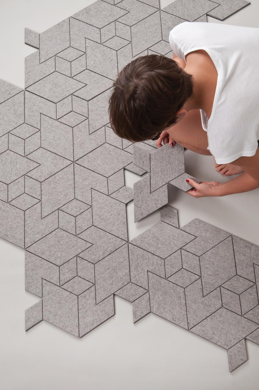 dywan grey triangles szary geometryczny wzór