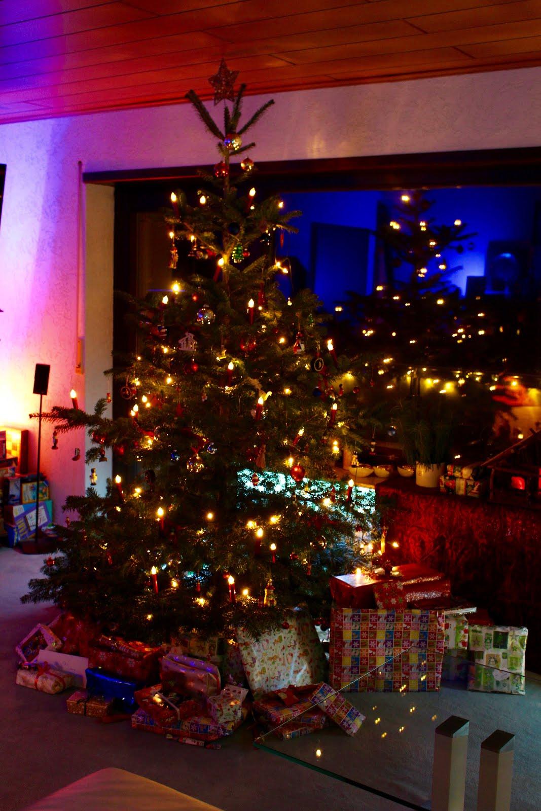 Weihnachtsbaum am Vorabend des 24.12. 2018 in Hoffenheim