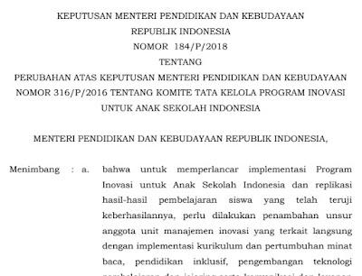 Download Kepmendikbud Nomor 184 Tahun 2018 Format PDF
