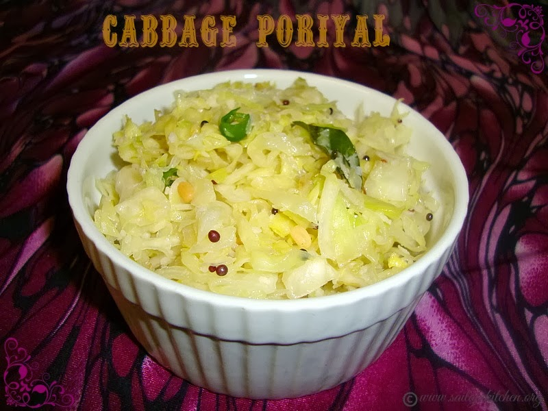 Cabbage Poriyal / Simple Cabbage Curry / Muttaikose Poriyal / South Indian Cabbage Stir Fry