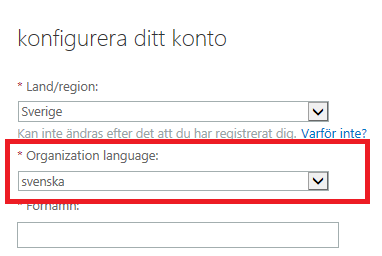 Organization Language field when provisioning CRM Online