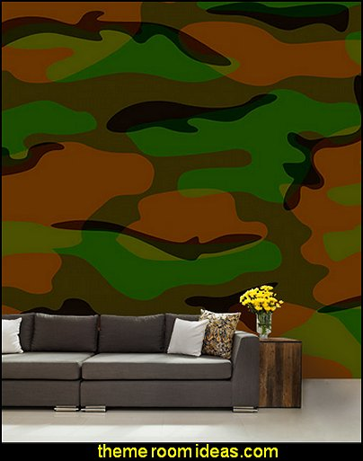 Camo Mural military theme bedroom wall decor army theme bedroom decorating