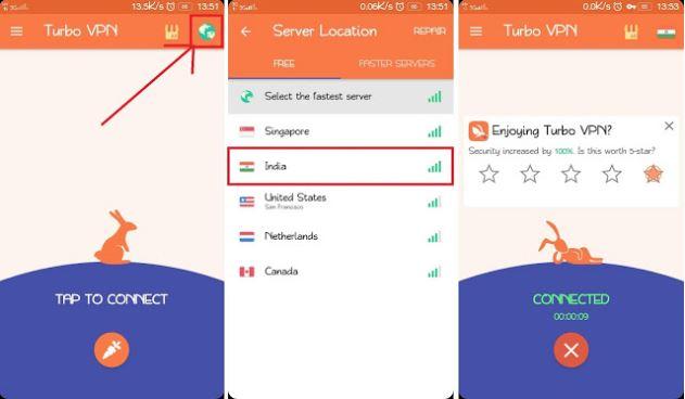 Tampilan aplikasi Turbo VPN Gratis Android