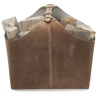 suede firewood carrier / holder